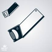 Stylized metal saw with sharp teeth — ストックベクタ