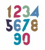 Handwritten color numbers — Stock Vector