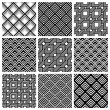 Black and white geometric seamless patterns — Stock Vector #69898127