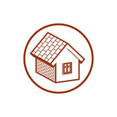 Country brick house icon — Stock Vector