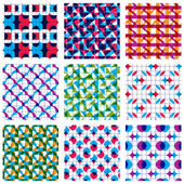 Set of multicolored grate seamless patterns — Vector de stock