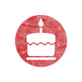 Cake icon with  candle — Stockvector