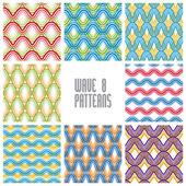 Waves seamless patterns set — Stock Vector