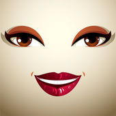 Coquette smiling woman eyes and lips — Stock Vector