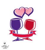 Two wineglasses illustration — Stock Vector