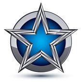 Silvery blazon with pentagonal star — Stock Vector