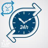 Around-the-clock flat pictogram — Stock Vector