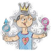 Alpha male concept. Bisexual idea — Stock Vector