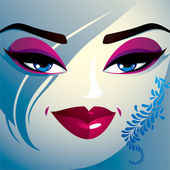 Coquette woman eyes and lips — Stock Vector