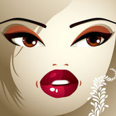 Face makeup. Lips, eyes and eyebrows — Stock Vector