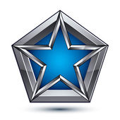 Silvery blazon with pentagonal blue star — Stockvector