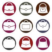 Женские сумки белые иконки — Cтоковый вектор