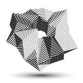 3D geometric stripy object — Stock Vector