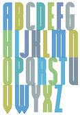 Geometric decorative triple font — Stock Vector