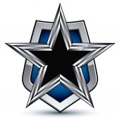 Silver emblem with pentagonal star — Stock Vector