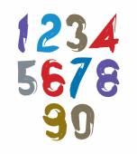 Stylish handwritten numerals — Stock Vector