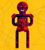 Red geometric cartoon character — Stock Vector
