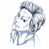 Hand drawn vector beautiful woman, illustration — Stock Vector