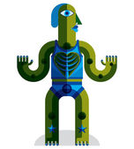 Geometric cubism style avatar — Stock Vector