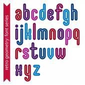 Multicolored binary striped distinct font — Stock Vector