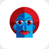 Illustration of bizarre modernistic avatar — Stock Vector