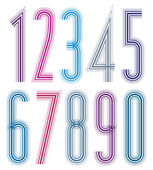 Decorative tall striped numbers. — Stock Vector