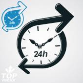 24 hours detailed clock — Stock Vector