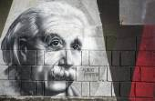 Albert Einstein graffiti on the wall in Opatija Angiolina Park. — Stock Photo