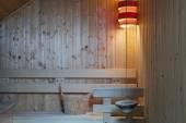 Inside of modern Finnish sauna — Stok fotoğraf