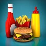 Hamburger, french fries, mustard and ketchup — Stock Photo #75343527