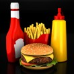 Hamburger, french fries, mustard and ketchup — Stock Photo #75446431