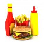 Hamburger, french fries, mustard and ketchup — Stock Photo #75776977