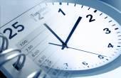 Clock and diary — Stock Photo