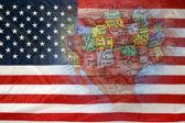 USA flag and globe — Stok fotoğraf