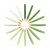 Green Pencils in Circle. — Stock Vector