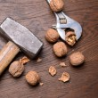 Walnuts on a wooden background — Stock Photo #58860155