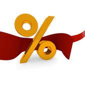Golden percent icon — Stock Photo
