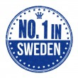 Number one in Sweden stamp — Stock Vector