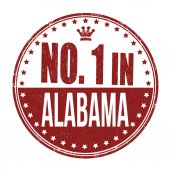 Number one in Alabama stamp — Stock Vector