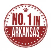 Number one in Arkansas stamp — Stock Vector
