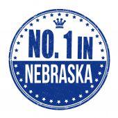 Number one in Nebraska stamp — Stock Vector
