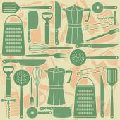 Seamless pattern of kitchen tools — Stock Vector