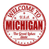 Welcome to Michigan stamp — Stock Vector