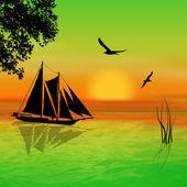 Sailboat on sunset landscape — ストック写真