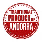 Traditional product of Andorra stamp — Stock Vector