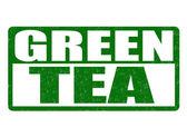 Green tea stamp — Stock Vector