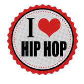 I love hip hop sticker or stamp — Stock Vector