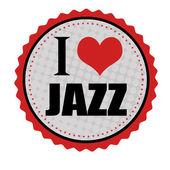 I love jazz sticker or stamp — Stock Vector