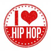 I love hip hop stamp — Stock Vector