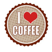I love coffee sticker or stamp — Stock Vector